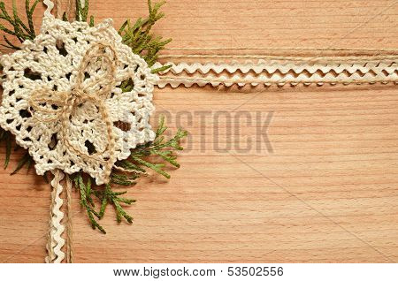 Background And Crochet Lace And Thuja Branches