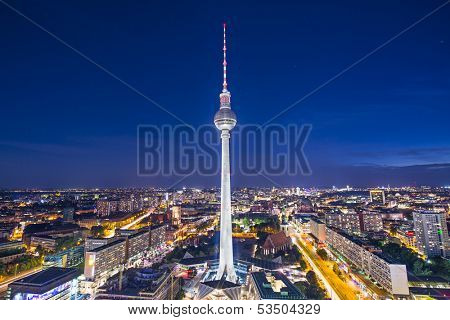 BERLIN - SEPTEMBER 17, 2013: Fernsehturm TV Tower September 17, 2013 in Berlin, Germany. At a height of 368 meters, it is the tallest structure in Germany.