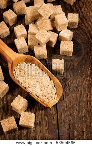 Brown Cane Sugar Cubes And Granules
