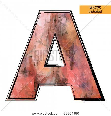 art sketched stylization alphabet in vector, colorful font, sign A
