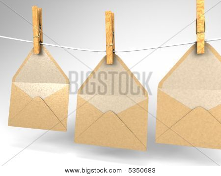 Envelopes And Clothespins