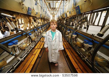 Boy in white robe and many machines for milking of cows in big farm.