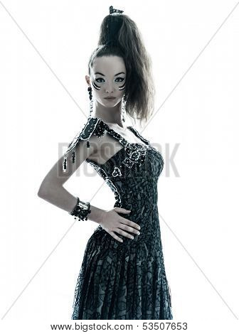 one young beautiful woman fashion model in on aura tout vu silk black fantasy haute couture summer dress in studio white background