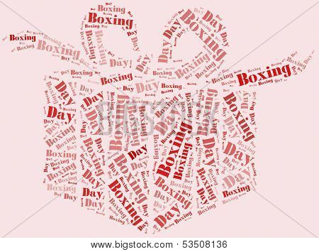 Tag Or Word Cloud Boxing Day Related In Shape Of Gift Box