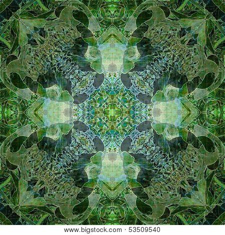 art nouveau ornamental vintage pattern in green colors