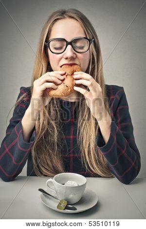 pretty woman having breakfast
