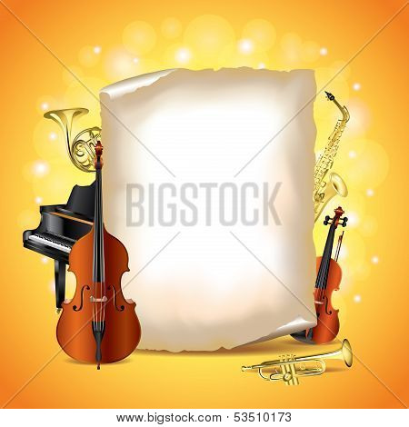 Musical Instruments With Blank Paper, Vector