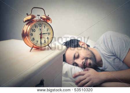 young man sleeping well