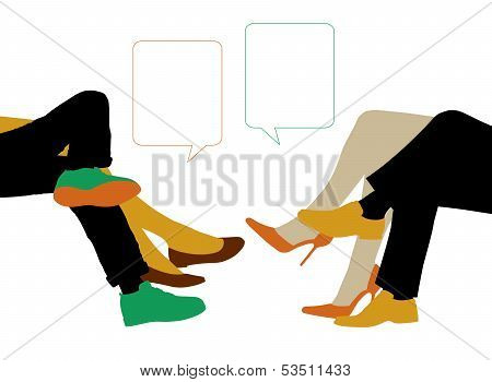 Dialogue Between Two Couples Seated