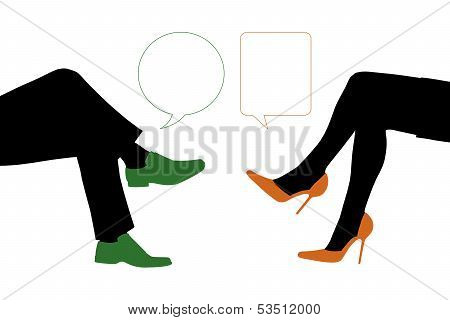 Dialogue Between Businessman And Woman Seated