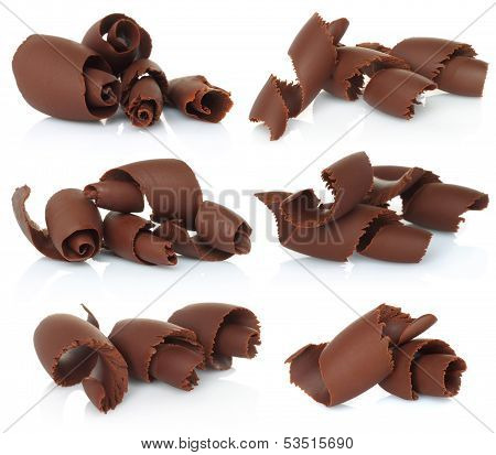 Set of chocolate shavings