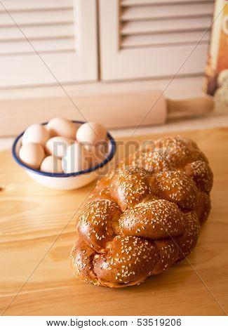 Challah and eggs