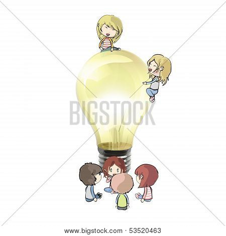 Kids Around Lightbulb. Realistic Vector Design.