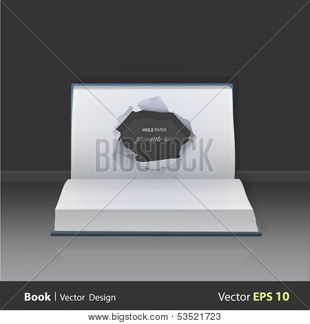 Hole Paper In Popup Book. Vector Illustration.