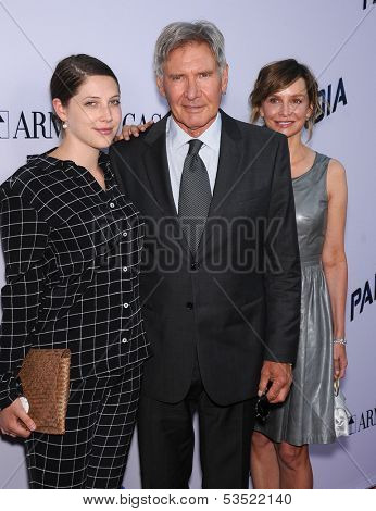 LOS ANGELES - AUG 08:  Georgia Ford, Harrison Ford & Calista Flockhart arrives to