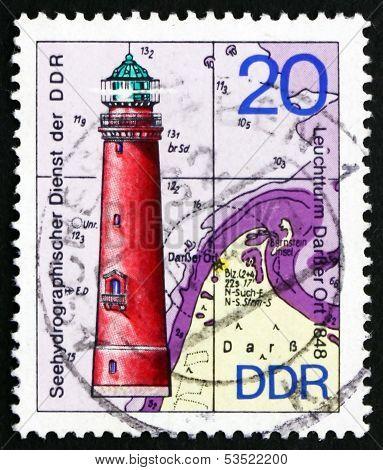 Postage Stamp Gdr 1974 Darsser Ort, Lighthouse