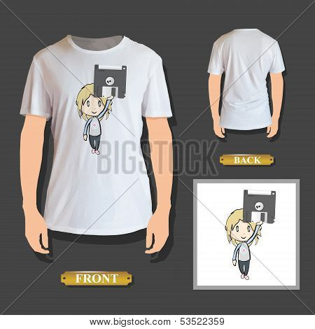 Girl Holding Diskette Printed On Shirt. Vector Design.