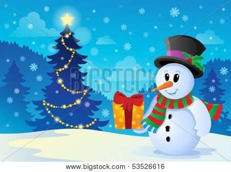 Christmas snowman theme image 1 - eps10 vector illustration.