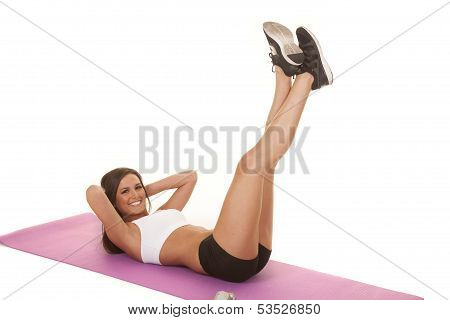Woman White Top Fitness Crunch Legs Up Smile