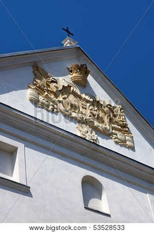Fragment Of Facade The Ancient Palace With Coat Of Arms
