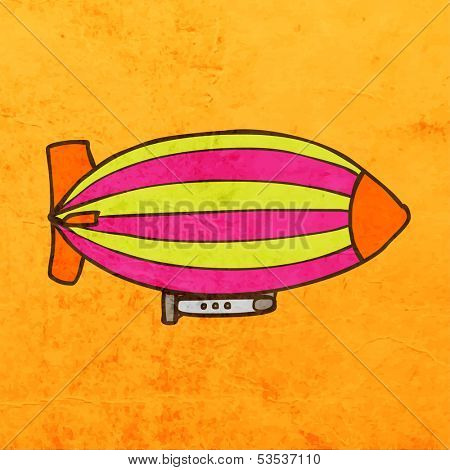 Zeppelin. Cute Hand Drawn Vector illustration, Vintage Paper Texture Background