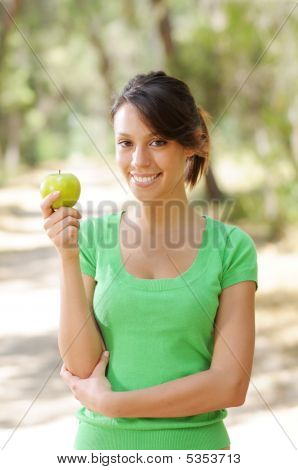Young Woman With Green Apple