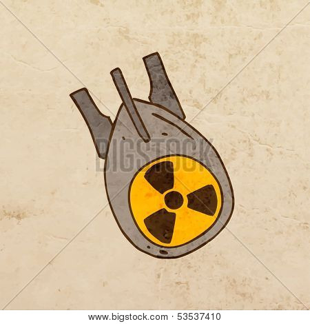 Nuclear Bomb. Cute Hand Drawn Vector illustration, Vintage Paper Texture Background