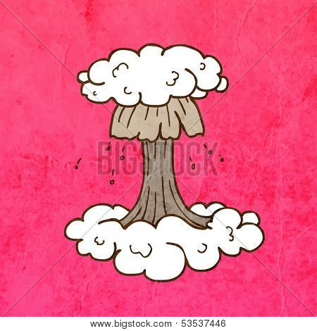 Nuclear Explosion. Cute Hand Drawn Vector illustration, Vintage Paper Texture Background