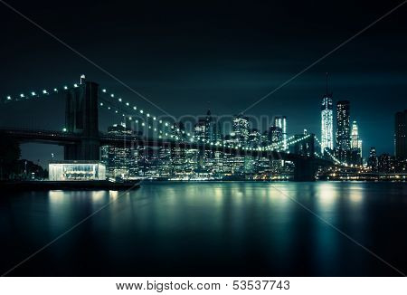 New York skyline by night