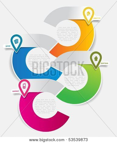 Abstract vector infographic background for company with icons and place for text content