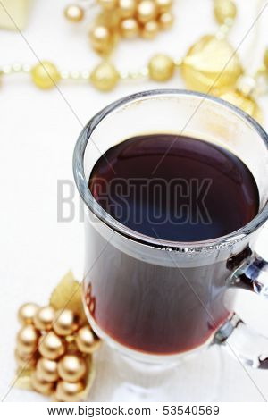 Cup Of Coffee With Christmas Ornaments