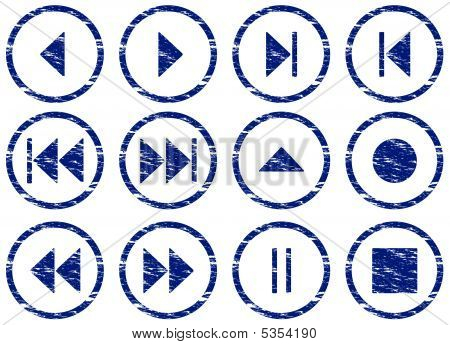 Multimedia Navigation Buttons Set.