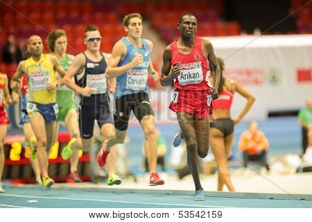 GOTHENBURG, SWEDEN - MARCH 1  Polat Kemboi Arikan (Turkey) places 3rd in heat 1 of the men's 3000m event during the European Athletics Indoor Championship on March 1, 2013 in Gothenburg, Sweden.