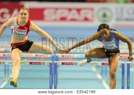GOTHENBURG, SWEDEN - MARCH 1  Reina-Flor Okori (France)  places 7th in heat 3 of the women's 60m hurdles event during the European Athletics Indoor Championship on March 1, 2013 in Gothenburg, Sweden.