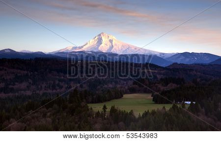 Lush Valley Leads To Mountan Landscape Mount Hood Cascade Range Oregon