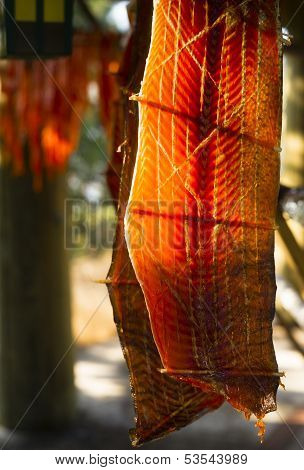 King Salmon Fish Meat Catch Hanging Native American Lodge Drying