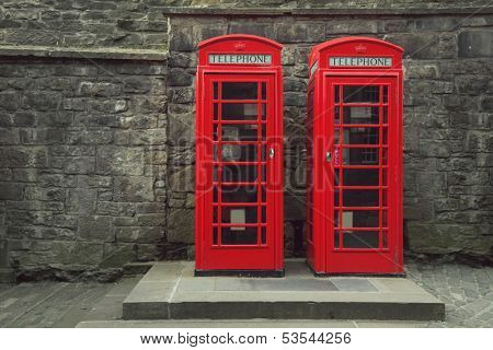 Classic red British telephone box in Edinburgh, Scotland