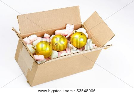 Cardboard Box With Christmas Balls