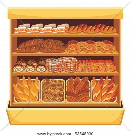 Supermarket. Bread Showcase