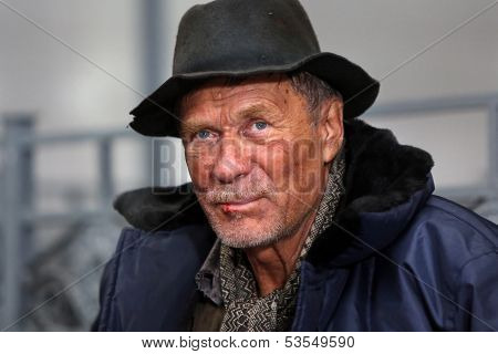 Homeless. Portrait.