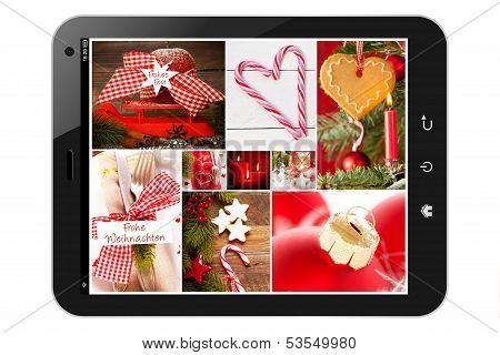 Tablet pc with christmas pictures