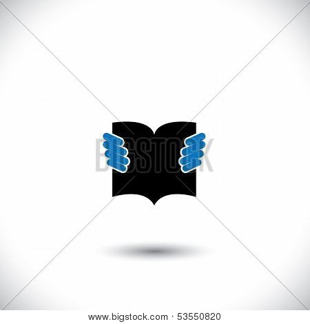 Person Reading A Book With Hands Holding The Booklet - Concept Vector.