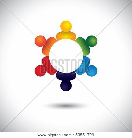 Young Kids Playing In Circle Or Student Study Group Vector