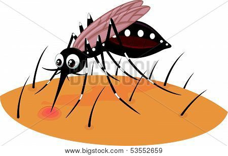 Mosquito cartoon sucking blood from human skin