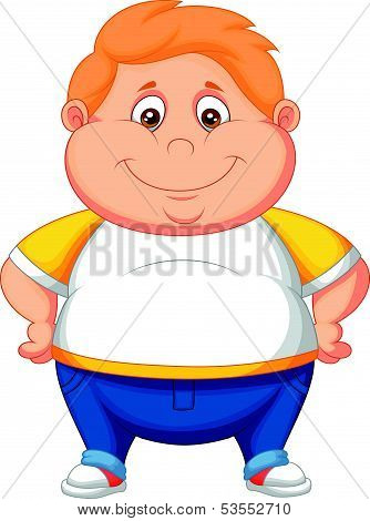 Fat boy cartoon posing