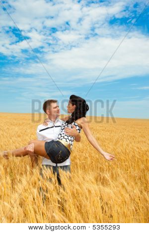 Man And Woman In Wheat