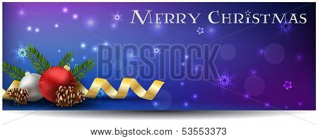 Christmas Background With Baubles, Ribbons And Conifer Cones