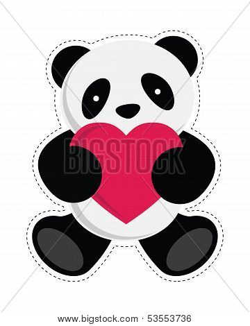 Panda bear holding heart. Vector illustration.