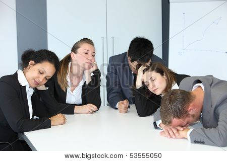 Group Of Bored Demotivated Businespeople