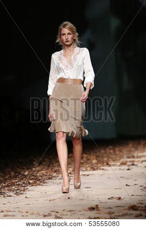 ZAGREB, CROATIA - OCTOBER 24: Fashion model wearing clothes designed by Monika Sablic on the Cro a Porter show on October 24, 2013 in Zagreb, Croatia.